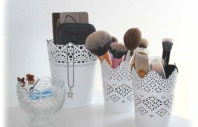 MAKE UP BRUSH HOLDER POTS SET OF 3...1 X LARGE X 2 Small UK SELLER
