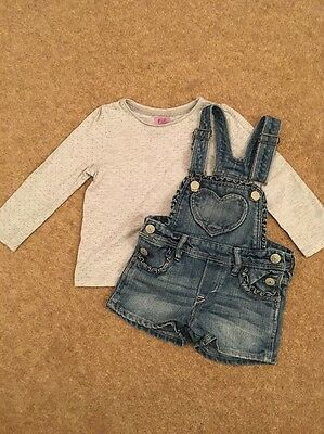 Girls Denim Short Dungarees And Sparkly Top 2-3 Years