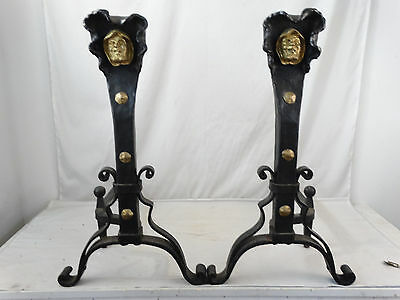 (2) Antique ARTS & CRAFT Cast Iron MISSION Figural FIRE DEVIL Fireplace ANDIRONS