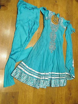 Indian 3-piece Dress Suit with Silver crystal embossed detail, Lined, vgc