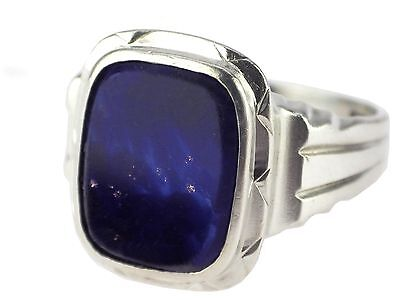 Art Deco Sickinger German Herren 800 Silber Lapislazuli Siegel Wappen Ring