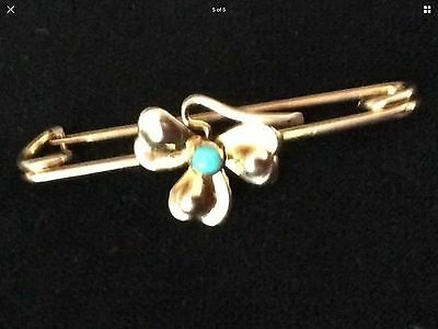 Vintage 9ct Gold Turquoise Brooch