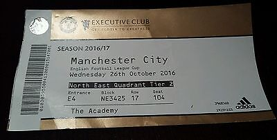 Manchester United FC v Manchester City 26/10/2016 Used Matchday Ticket RARE