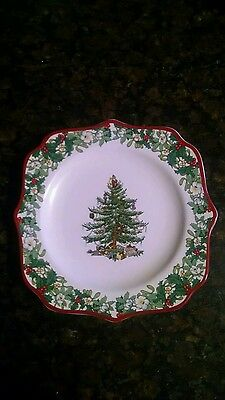 Spode Christmas Tree 70th Anniversary Plate 2008 Annual Border Fancy Square