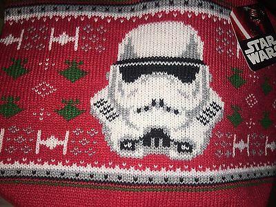 Star Wars mini Christmas tree skirt red knitted storm trooper new