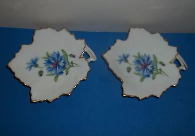 """Rossetti  """"meadow Belle"""" Hand Painted Leaf Shaped Butter Pat Dishes"""