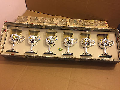 6 x Vintage Small Amber Coloured Shot Glasses In Silver Plastic Holders