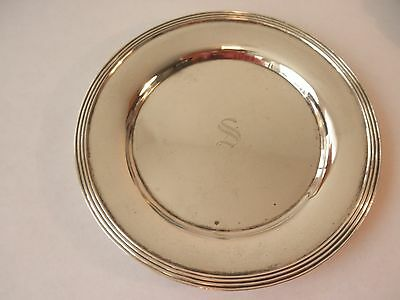 """Vintage 5.25"""" Towle Sterling Silver Saucer / Plate Monogram S  97 grams"""