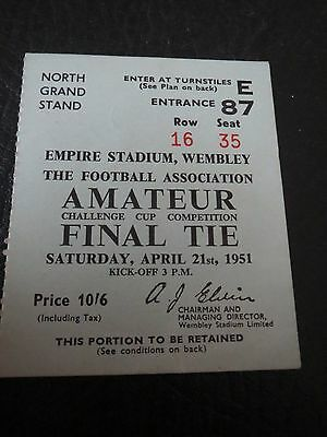 ORIGINAL 1951 AMATEUR CUP FINAL TICKET PEGASUS v BISHOP AUCKLAND
