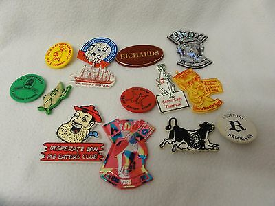 Collection of Vintage Desperate Dan badges Arnold Cedric Ramblers milk