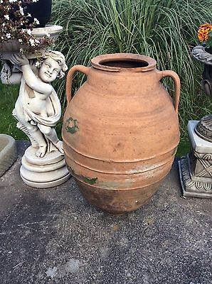 Large Antique Turkish Terracotta Water Bottle On Metal Stand