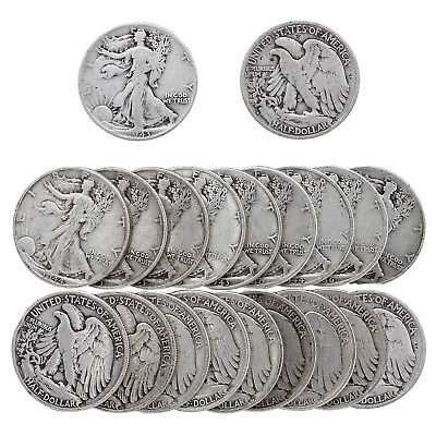 Walking Liberty Half Dollar Roll 90% Silver $10 Face 20 Mixed Date US Coins
