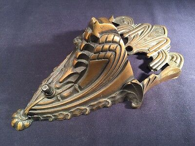 Vintage Antique Art Deco Brass Bronze Wall Sconce Slip Shade Light Lamp Fixture