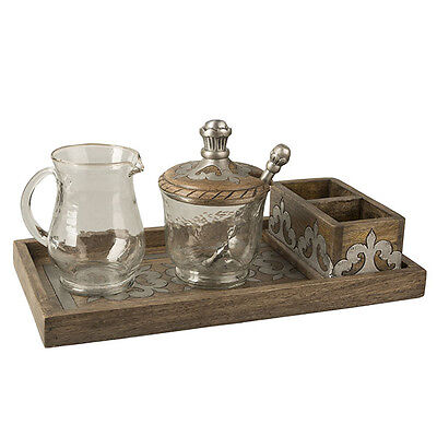 GG Collection Wood & Metal Cream & Sugar Set