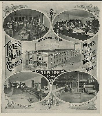 Taylor-Newell Co.; Pants and Vests; Newton, Iowa; Authentic 1904 Advertisement
