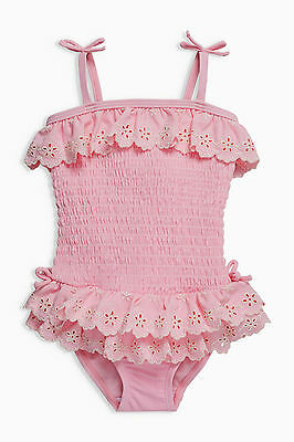 ВNWT NEXT Girls Kids Swimwear • Pink Ruffle Lace Embroidered Swimsuit • 6-9 mons