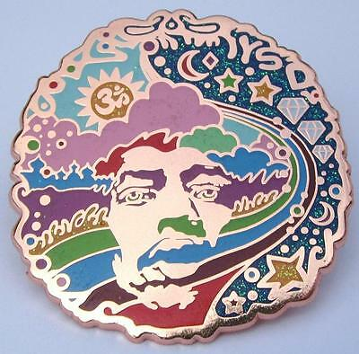 Jimi Hendrix PIN - Rare Copper Plated Over The Rainbow Medal + Deluxe screwback