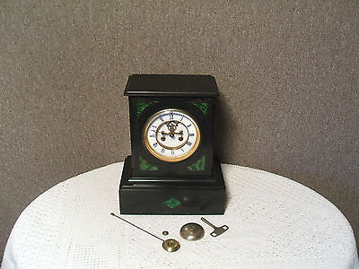 Black Marble & Green Malachite Mantle Clock
