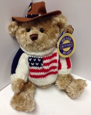 """12+"""" Brass Button Bear In American Flag Sweater--""""CLAY"""""""