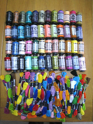 *CLEARANCE* Joblot of 48 Rolls Sewing Thread & 80 Embroidery Craft Skeins
