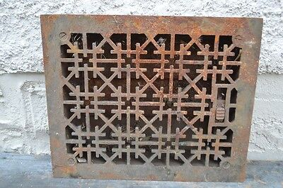 Antique Cast Iron Floor Wall Register Heat Grate Geometric Vintage Old House