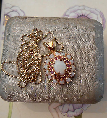 Superbe collier vintage chaine + pendentif Or Argent Opales Rubis
