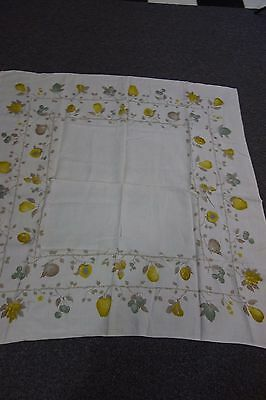 1950's Linen Print Tablecloth- Fruit on the Vine-Luther Travis-47x48-VG- SALE