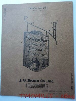 1929 JG Braun Co Catalog Ye Forge Line of Wrought Iron Colonial Hardware Vintage