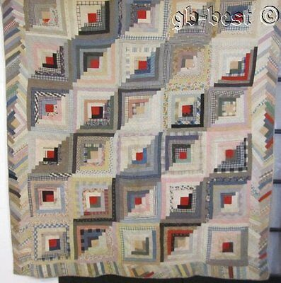 Antique 1900s PA Log Cabin Quilt FURROWS Pieced Border