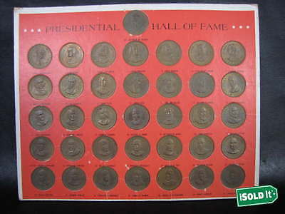 Complete 36 Bronze 1968 Presidential Hall Of Fame Franklin Mint Coin Collection