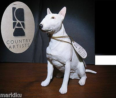 New English Bull Terrier dog Figurine CA06248 Country Artists sitting All white