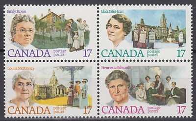 CANADA #879-882 17¢ Canadian Feminists Block Mint Never Hinged - A
