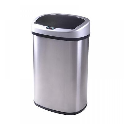 New 13-Gallon Touch-Free Sensor Automatic Stainless-Steel Trash Can Kitchen  50R