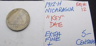 Nicaragua 1912-H 5-Centavos! Extra Fine+! Km# 12! Key Date! Nice Coin! Look
