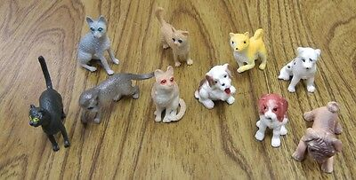 10 Mini rubber Cat and Dog Figures