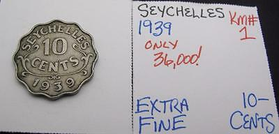 Seychelles 1939 10-Cents! Extra Fine! Km# 1! Really Nice Type Coin! Look