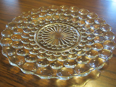 """Anchor Hocking Serving , Dinne Plate Clear Bubble Glass  9 7/8"""" Diameter ."""