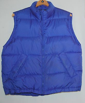 Lands End Goose Down Feather Puffy Vest Womens M Blue Nylon Camp Hike Ski Work
