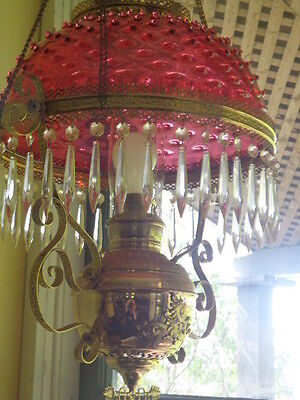 Antique Hanging Oil Lamp with Hob Nail Cranberry Glass Shade
