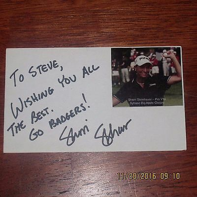Sherri Steinhauer Signed 3x5 Index Card Golf