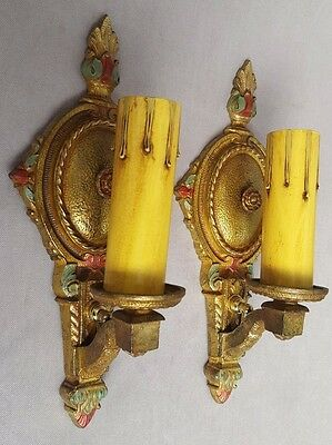 Pair of Petite Solid Bronze Wall Sconces, Rewired, Restored, Guaranteed