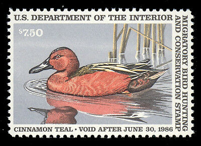 RW53 1986 $7.50 Duck - Fulvous Whistling Duck MNH