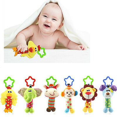 Toddlers Soft Toys Animal Hand Bell Baby Hand Grasp Bells Cloth Baby Plush Toys