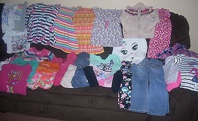 Fall Winter Spring Summer Girls Clothing Lot Size 5/6 Jeans Tops Dresses Sweater