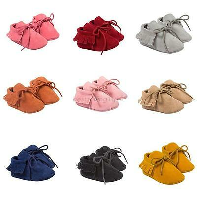 Baby Tassel Soft Sole Suede Shoes Infant Boy Girl Toddler Newborn Moccasin 0-18M