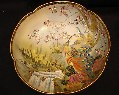 "8 1/2"" MARKED Shizan JAPANESE TAISHO PERIOD SATSUMA LOBED BOWL"