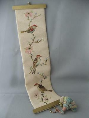 ANTIQUE VTG COMPLETED PETIT POINT NEDDLEPOINT BIRDS BELL PULL w BRASS HARDWARE