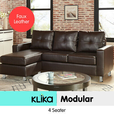 Corner Sofa Lounge Couch Modular Furniture L Chair Home PU Leather Chaise Brown