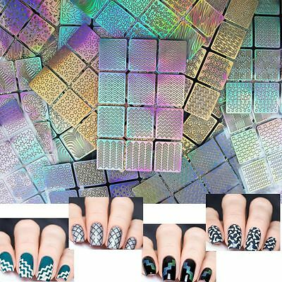 12 Tips/Sheet Nail Art Manicure Stencil Stickers Nails Stamping Vinyl DIY Decals