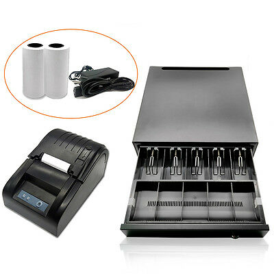 USB 58mm POS Thermal Dot Receipt Printer+ Electronic Cash Drawer Roll Paper USA!